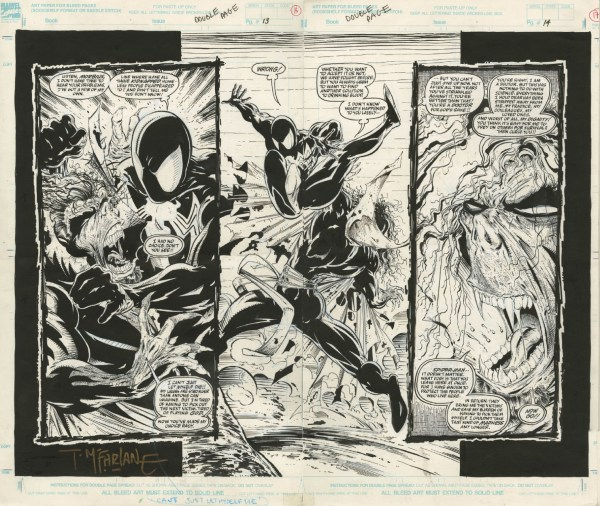 Spider-man #14 Double Page Splash 1991 Todd Mcfarlane Black Costumed Spidey And Moribus In