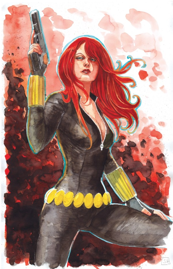 Black Widow Stephanie Hans In Patrick Starnes' Comic Art Room