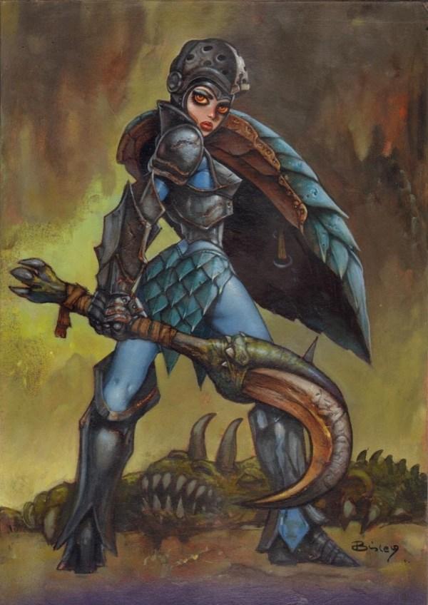Simon Bisley - Female Elf Warrior In Alex .' Babes With Blades Comic Art Room