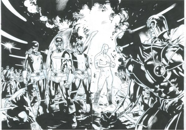 X-men Splash Stuart Immonen In Raj' Comic Art Room