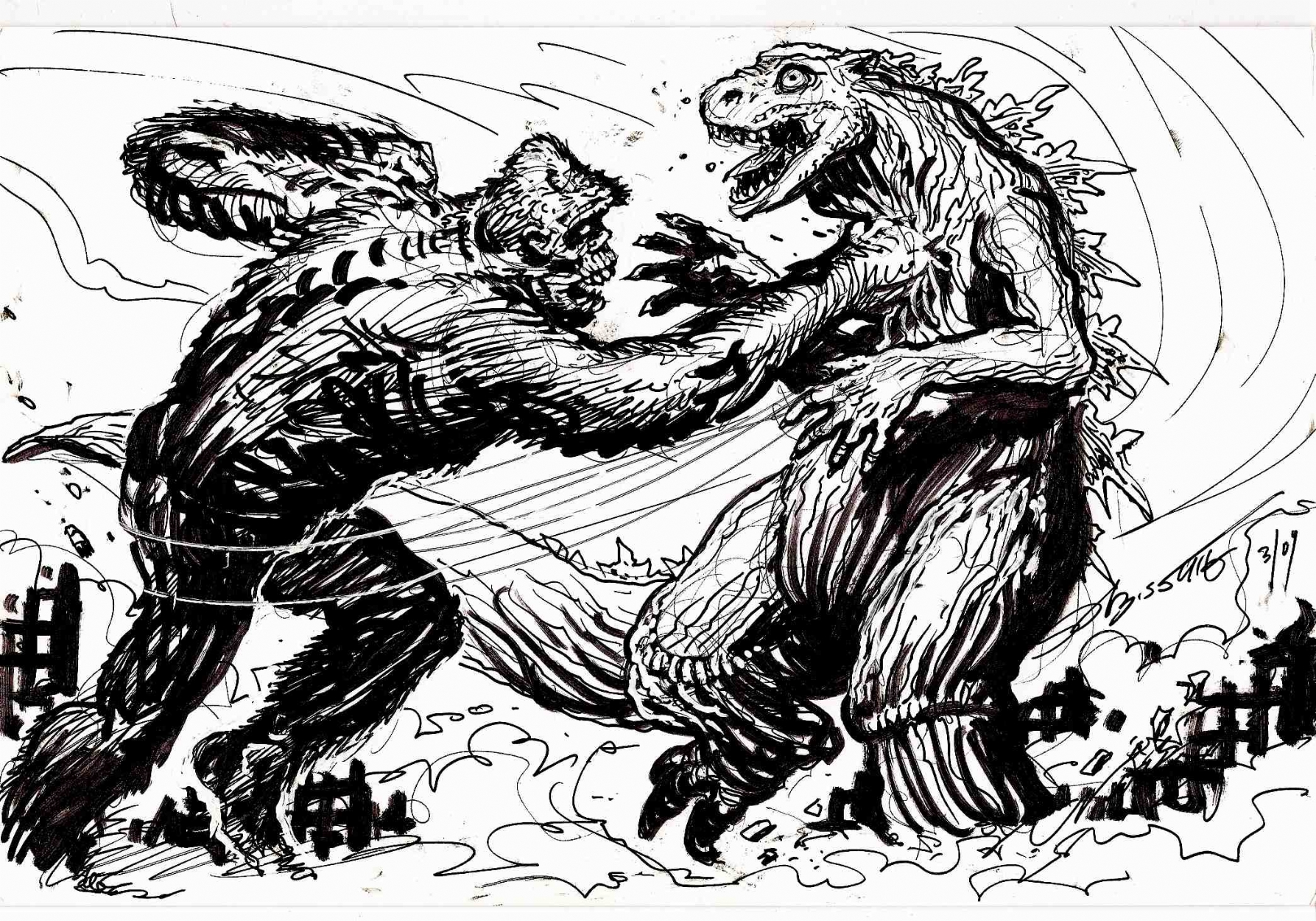 King Kong Vs Godzilla Rematch In Stephen Bissette S Sold