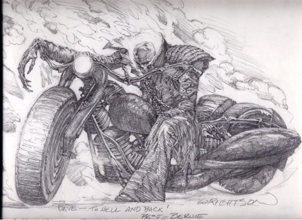 Ghost Rider Bernie Wrightson In Dave Trax' Comic Art Room