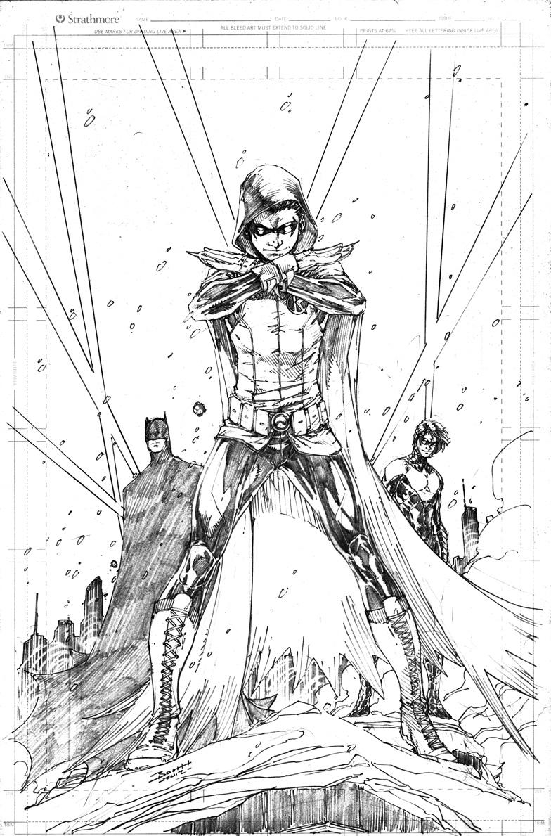 Robin, Batman, and Nightwing by Brett Booth , in Will