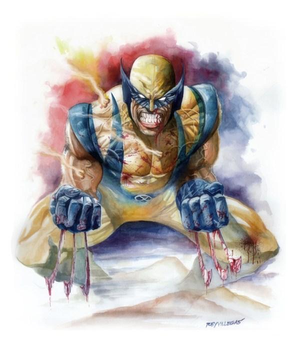 Wolverine Watercolor In Rey Villegas' Art Comic