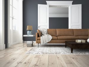 living room with navy walls and beige floors