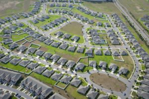 aerial view of residential community