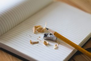 A blank piece of paper and a sharpened pencil.