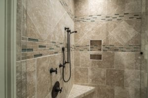 Oversized shower with tiling.