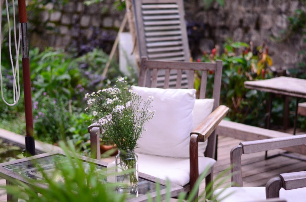 Spring patio with a table and chairs