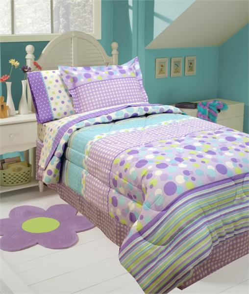 GINGHAM STRIPE AQUA Bed In A Bag Sets for Girls