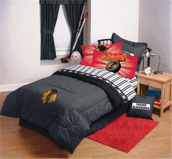 Chicago Blackhawks Denim Comforter  Sheet Set Combo
