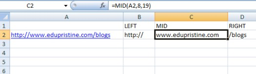 Using Excel's LEFT, MID, RIGHT functions in SEO