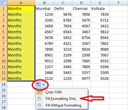 Using autofill option in Excel