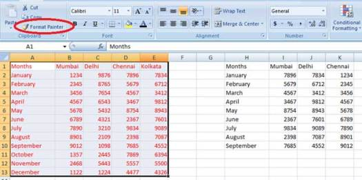Using format painter in Excel