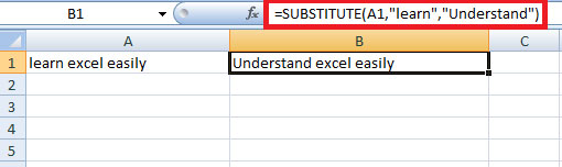 Substitute function in Excel