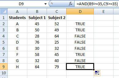 Using AND function in Excel