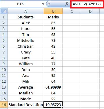calculating standard deviation in excel
