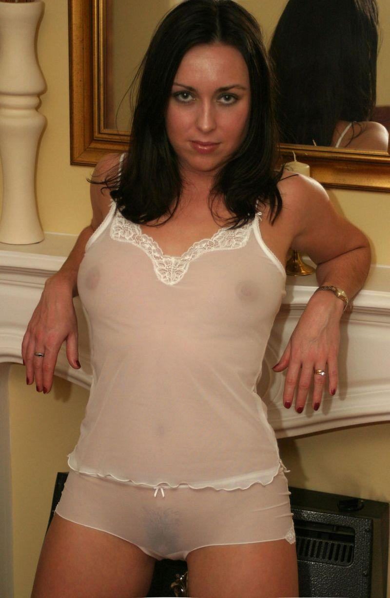 Dark-haired chick in transparent lingerie - 3