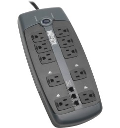 tripp lite surge protector 120v 10 outlet rj11 8 cord 2395 joule 10 x nema 5 15r 1800 va 2395 j 120 v ac input 120 v ac output fax modem phone [ 1300 x 1300 Pixel ]