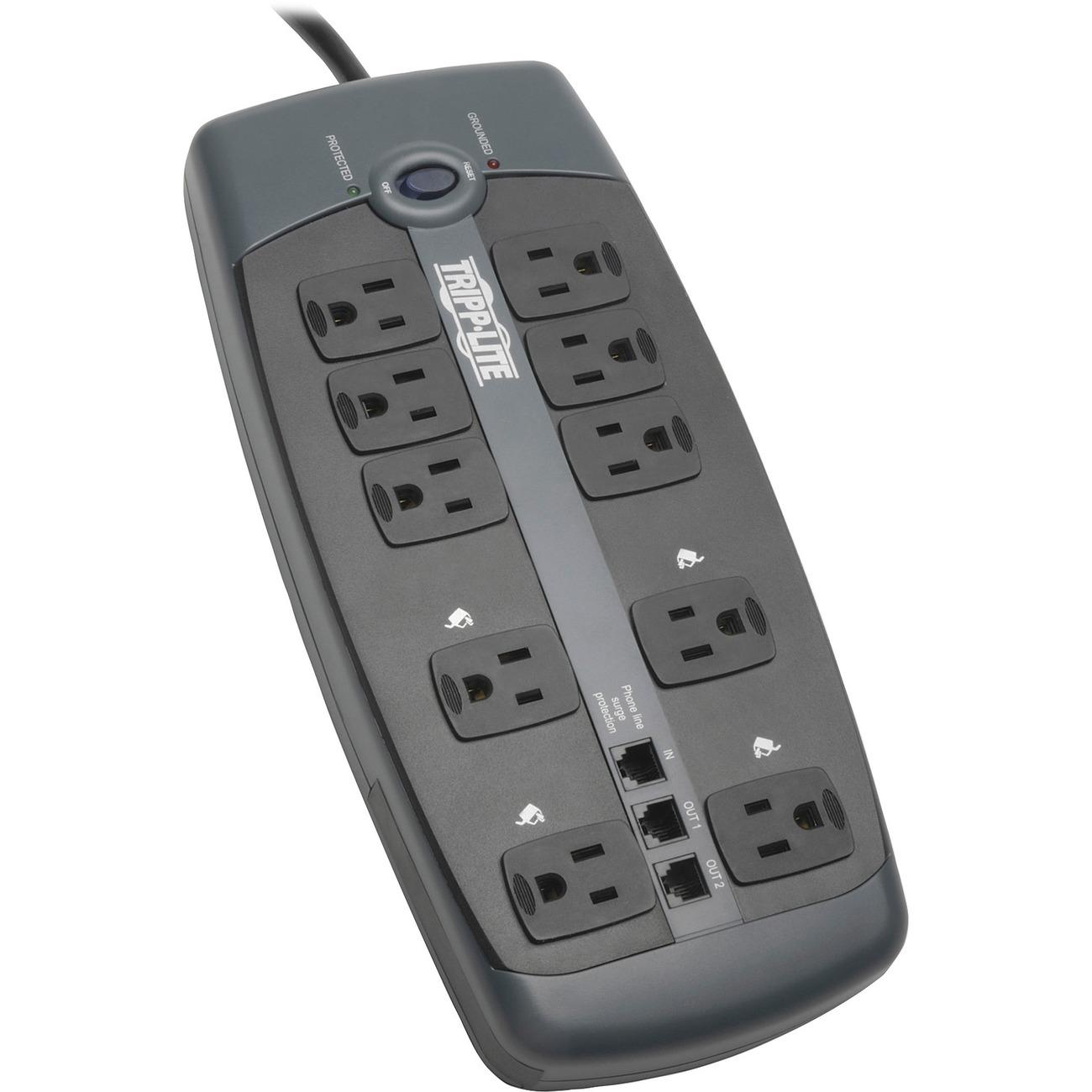 hight resolution of tripp lite surge protector 120v 10 outlet rj11 8 cord 2395 joule 10 x nema 5 15r 1800 va 2395 j 120 v ac input 120 v ac output fax modem phone