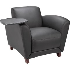 Black Leather Reception Chairs Panther Throne Chair Lorell Seating With Tablet Madill The