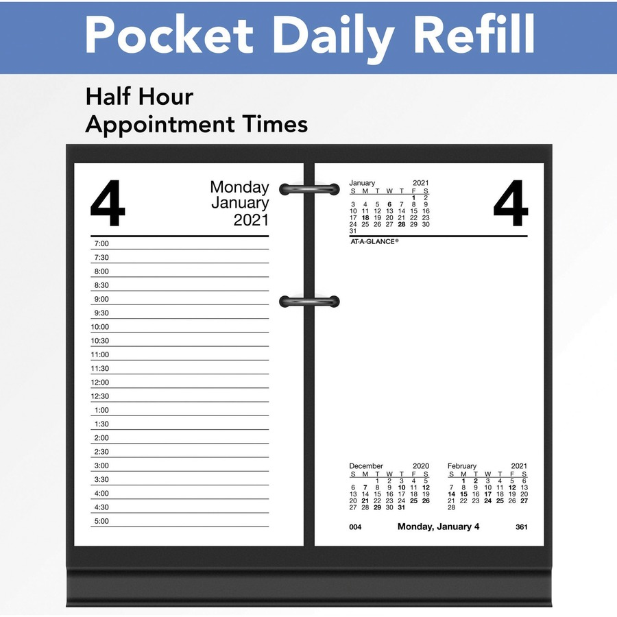 At A Glance Daily Calendar Pocket Refill
