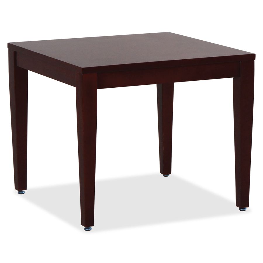 Lorell Mahogany Finish Solid Wood Corner Table