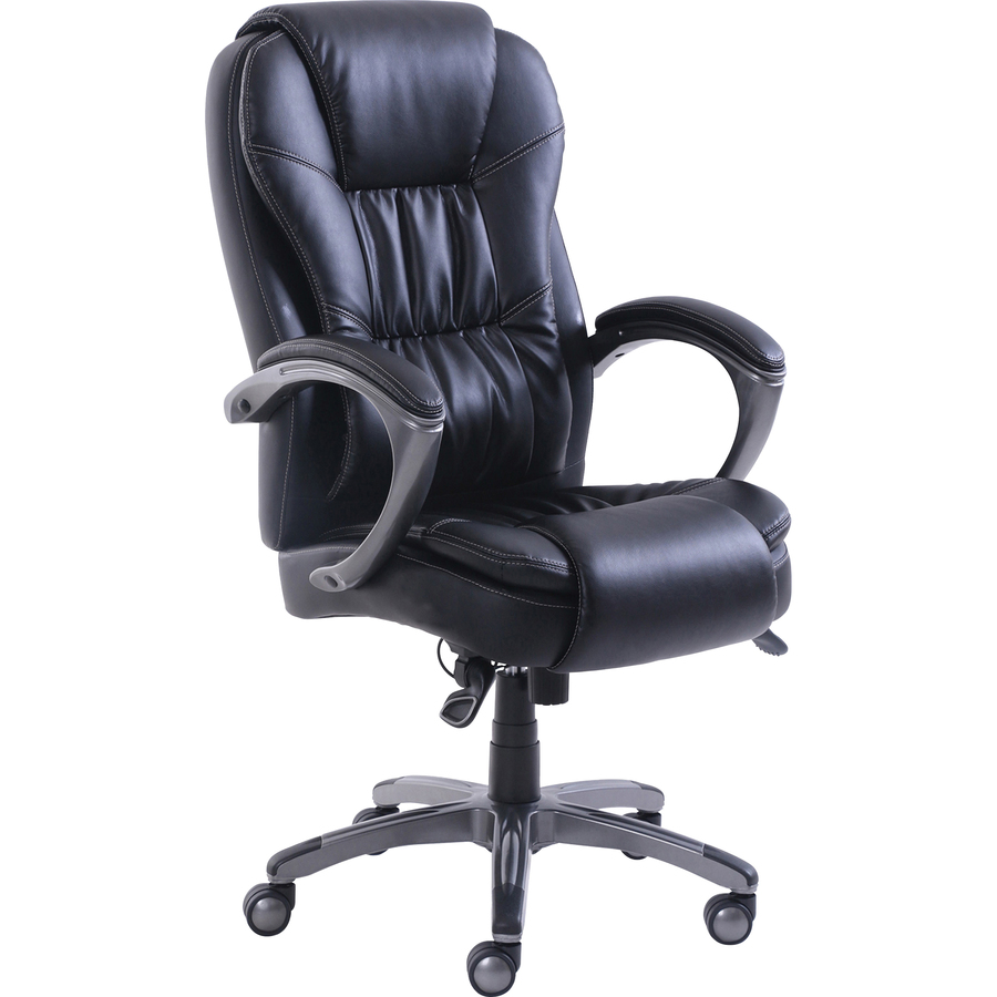 Office Chair Massager Lorell Active Massage Leather High Back Chair Bonded Leather Black Seat Bonded Leather Black Back 5 Star Base 30 3