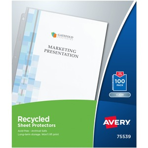 Avery Recycled Economy Weight Sheet Protectors 12quot Height X 98quot Width For Letter 8 12quot X