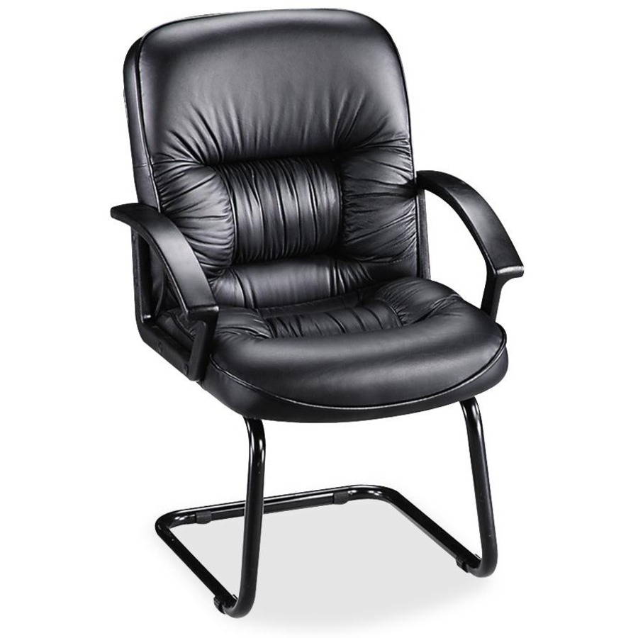 Tufted Leather Office Chair Lorell Tufted Leather Executive Guest Chair Leather Black Seat Black Frame Cantilever Base Black