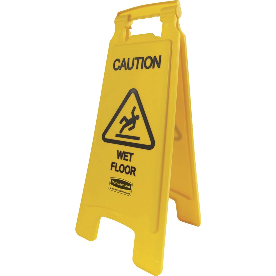 Bulk Rubbermaid Caution Wet Floor Safety Sign RCP611277YW