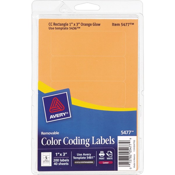 Avery Rectangular Color Coding Labels; Ave 05477