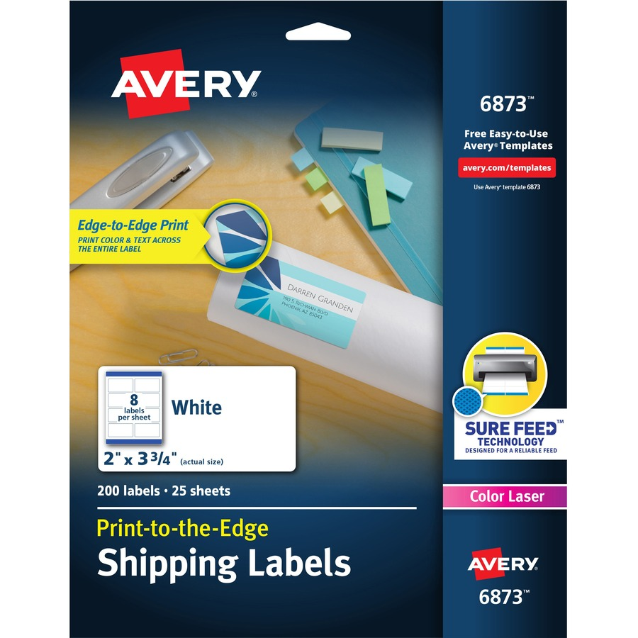 hight resolution of avery reg white print to the edge shipping labels ave6873