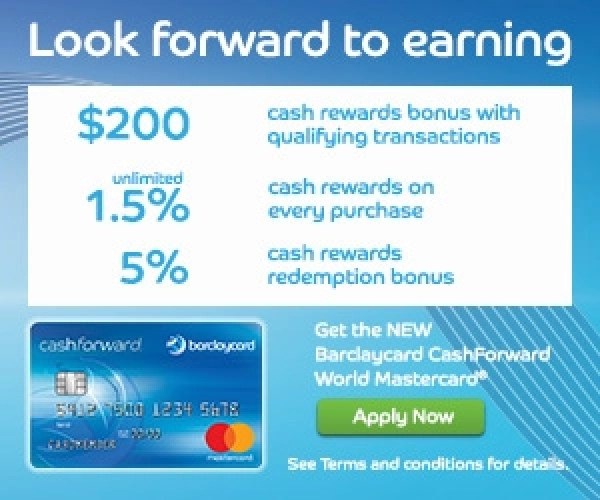 Barclaycard CashForward $200 Sign-Up Bonus