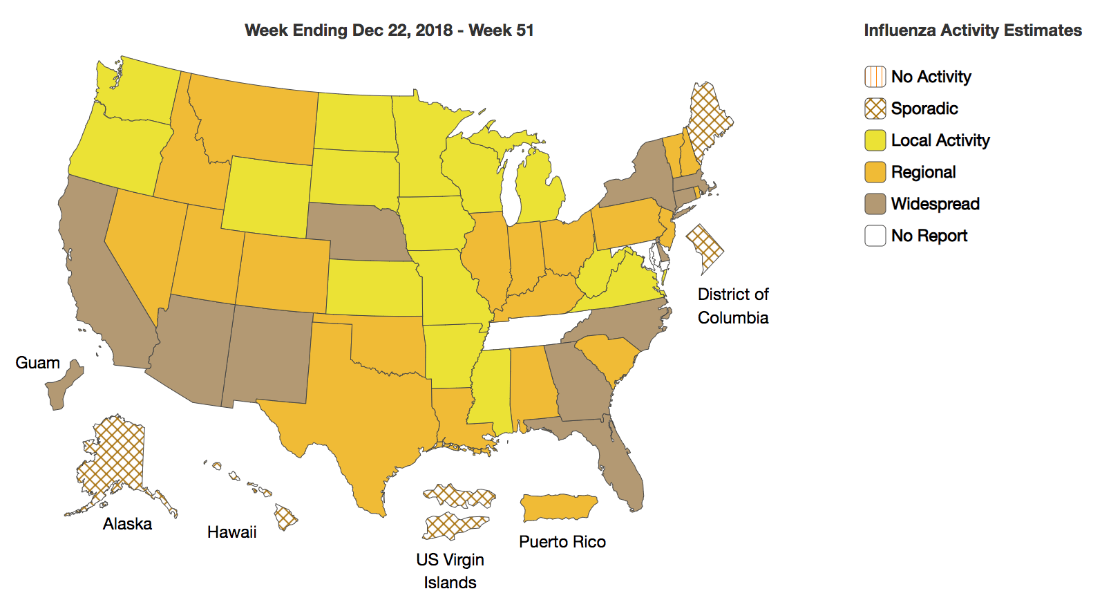 U.S. Flu Map: 11 States Now Experiencing Widespread Flu Activity ...