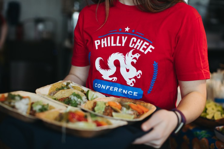 Servings of South Philly Barbacoa tacos at the Philly Chef Conference.