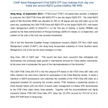 FTSE China A50 CSOP largest RQFII ETF   FTSE Russell