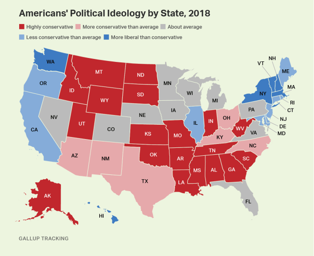 Heat map. The political ideology of the populations of each U.S. state.