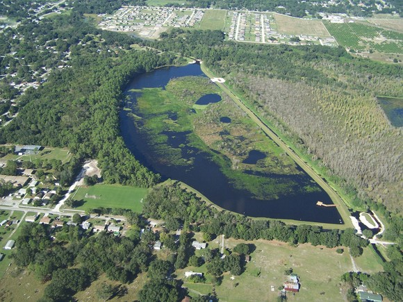 Second aerial view of Lake Gwyn showing the completed project, Photo courtesy of Polk County Natural Resources