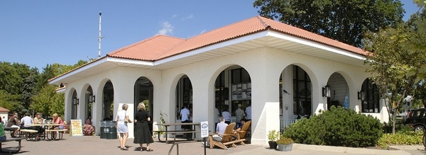 Park users enjoy food and drink from Tin Fish, the current tenant at Calhoun Refectory