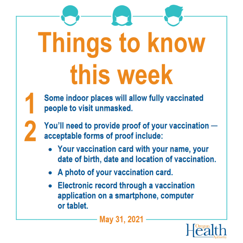 A card listing tips to prove vaccination