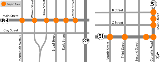 Monmouth-Independence curb ramp upgrade locations