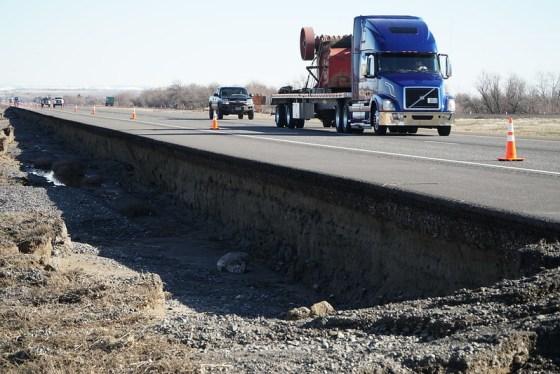 Exposed roadbed