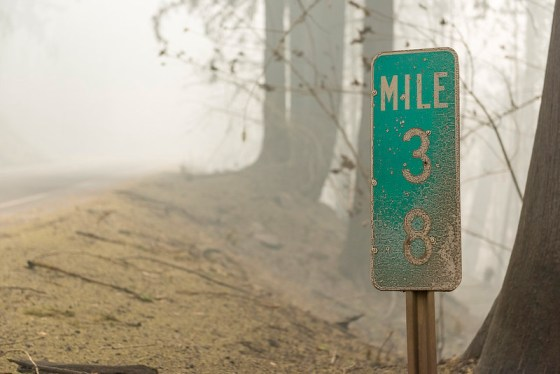Wildfire burns signs