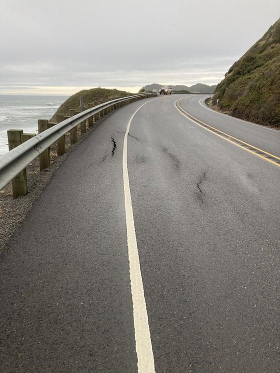 Cracked road on U.S. 101 at milepost 170.5.