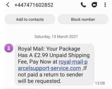 Fake Royal Mail text 2