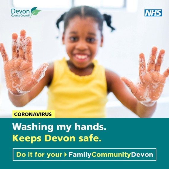 Washing my hands keeps Devon safe image of girl with soapy hand