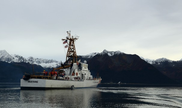 Coast Guard Cutter Mustang crew transits Resurrection Bay near Seward, Alaska