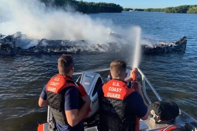 Coast Guard responds to boat fire