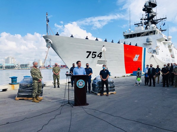 DEA Acting Administrator Timothy J. Shea speaks at the U.S. Coast Guard drug offload in Fort Lauderdale
